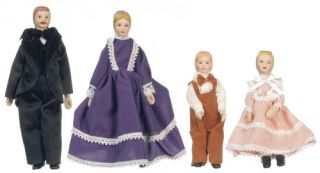 Victorian Porcelain Doll Family Miniature 4pc 06821