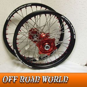 SM Pro Platinum Talon Enduro Wheels Honda CRF 450X Black Rim Red Hubs Nipples