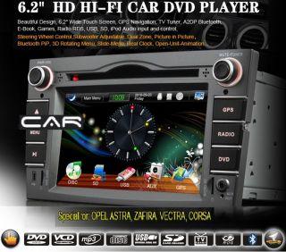 Opel Corsa Vectra Astra Zafira Radio 2Din GPS HD DVD TDT Pip Bluetooth iPod Dual