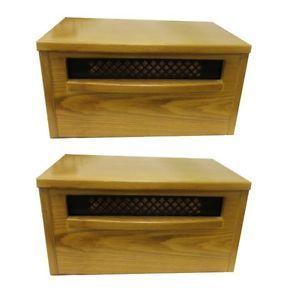 2 Suntech Electric 750 Watt Infrared Quartz Heaters Portable Space Heaters Oak