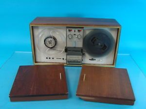 Vtg Wollensak 5300 Reel to Reel Tape Recorder Wood Display Cabinet Home Stereo