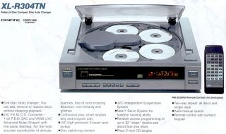 JVC 5 CD Compact Disc Automatic Changer Player Model XL R304 Topload Digital