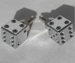 """2 Real Dice """"Chrome"""" License Plate Frame Bolts Motorcycle Custom Tag Fastener"""