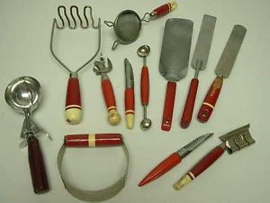 Large Lot Vintage Assorted Kitchen Tools Utensils w Red Wood Bakelite Handles