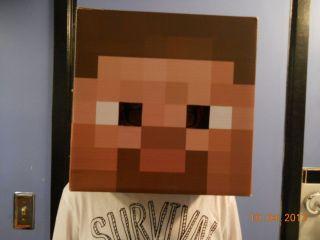 Minecraft Cardboard Steve Head Mask Costume