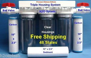 "Whole House Water Filter Sediment Carbon Drinking Ro 3 4"" Ports Clear Housings"