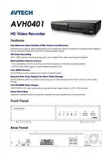 Avtech AVH0401 4CH 4Channel NVR 1080p HDMI Full HD Plug Play Auto Setup Pon 2TB