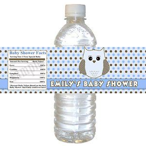 25 Custom Blue Owl Water Bottle Labels Wrappers Baby Shower Polka Dots Birthday