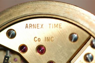 Excellent Arnex Incabloc 17 Jewel Hunter Case Pocket Watch w Rose Dial