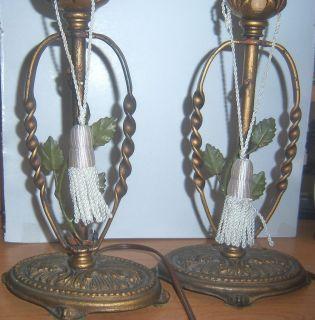 Pair Antique Art Nouveau Boudoir Vanity Candelabra Table Lamps Leaf Decor C1910