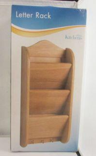 Wooden Letter Rack Holder Organizer Storage Office Kitchen Key Mount Wall Mail