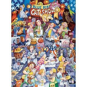Blue Ribbon Cat Show by Bill Bell New 300 Piece Large Format Puzzle Cats
