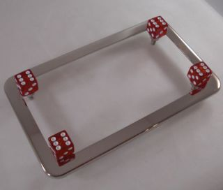 Chrome Motorcycle License Plate Tag Frame Red Glitter Dice Lic Fastener Bolts