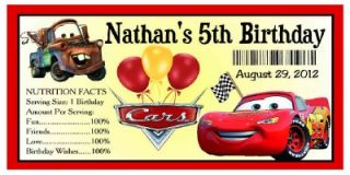20 Disney Cars Birthday Party Favors Water Bottle Labels