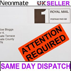 Bright Red Fluorescent Luminous Attention Required Postage Labels Stickers