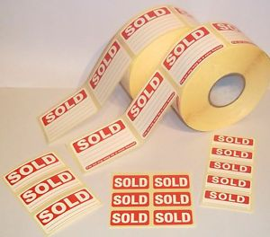 Bright Red Sold Stickers Swing Tag Labels Sticky Labels Removable Adhesive