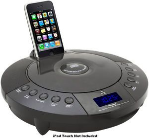 Pyle PICL48B CD Player w iPod iPhone Dock Aux in Ifor  FM Radio Alarm Clock