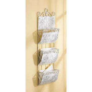 Antique Shabby Style White Metal Wall Letter Mail Holder Organizer