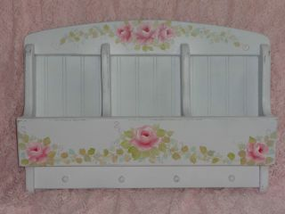 Romantic Cottage Wall Organizer HP Roses Chic Shabby Vintage Victorian Country