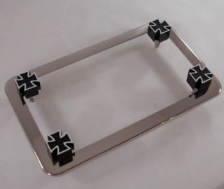 Chrome Motorcycle License Plate Tag Frame Black Iron Cross Lic Fastener Bolts