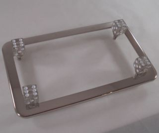 Chrome Motorcycle License Plate Tag Frame Clear Glitter Dice Fastener Bolts