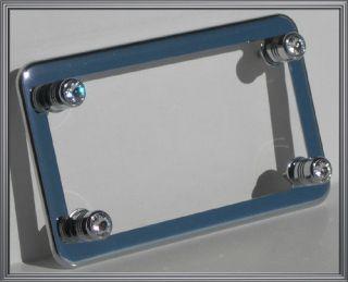Chrome Motorcycle License Plate Frame Clear Swarovski Crystal Gem Bling Bolts