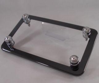 Black Chrome Motorcycle License Plate Frame Clear Swarovski Crystal Gem Bolts
