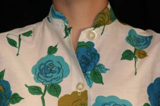 S Vtg 50s 60s Blue Green Cabbage Rose Floral Tunic Rockabilly Blouse Top Shirt