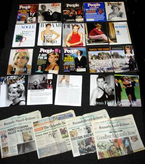 Princess Diana Magazine clippings Set 1 Over 200 Pages Newspapers Magazines