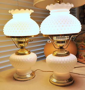 Two Beautiful Vintage White Milk Glass Hobnail Hurricane Table Lamps