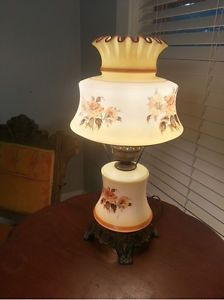 Vintage Electric Hurricane Lamp Parlor Table Lamp Double Seperate Light
