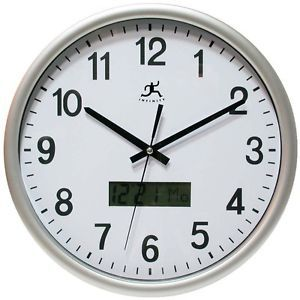 Round Wall Clock Digital Day Date Display in 7 Languages Workplace Office Clocks