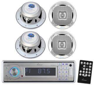 "New Lanzar in Dash Marine Stereo Player w Bluetooth 4 New 7 7"" Marine Speakers"