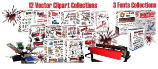Over 200 000 Vector Clipart Fonts Vinyl Plotter Decals Signs 15 Collections
