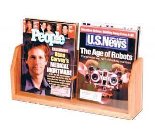 Wooden Mallet Countertop 2 Pocket Magazine Holders Display Rack
