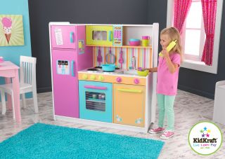 KidKraft 53100 Kids Deluxe Big Bright Colorful Pretend Play Kitchen New