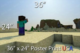 Minecraft PC Xbox Huge Poster Print 36x24 Steve Bright Desert Sun USA New