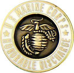 USMC Marine Corps Honorable Discharge Military Hat Pin
