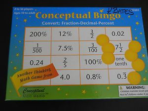 Classroom Math Conceptual Bingo Game Convert Fraction Decimal Percent