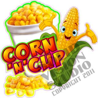 "7"" Corn N Cup Fun Fair Food Concession Trailer Restaurant Bar Sweet Sign Decal"