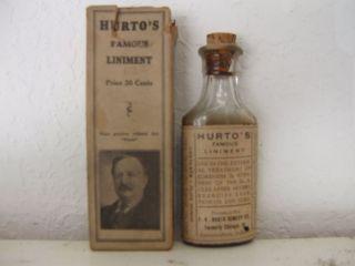 Hurto's Famous Liniment Antique Medicine Bottle