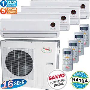 36000 BTU Quad Zone Ductless Mini Split Air Conditioner Heat Pump 9000 x 4