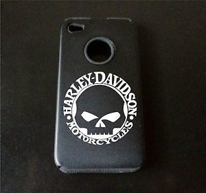 iPhone 4 4S Aluminum Silcone Case Harley Davidson Skull Laser Etched