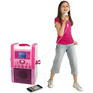 EK Girls Pink Party CD G Karaoke Machine with Colour Screen Camera Pink Mic