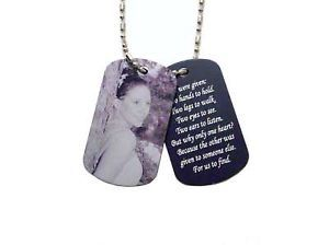 2 Photo Memorial Dog Tag Pendant Necklace Loving Memory
