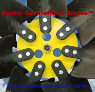 7 Raptor Generation 5™ Blades with Hub for Wind Turbine Generators Made in USA