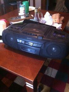 RARE Sony CFD 8 Portable Boombox Radio Cassette CD Player Ghettoblaster