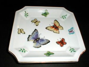 "Andrea by Sadek Japanese Porcelain Multicolored Butterfly Square 8"" Plate"