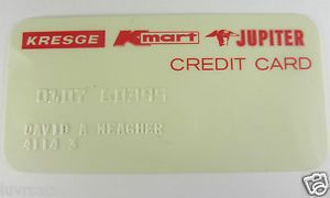 RARE Vintage Kresge Kmart Jupiter Department Store Credit Card