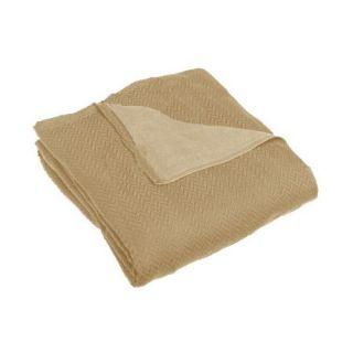 Sunbeam Herringbone Heated Electric Warming Blanket Full Size Mushroom Beige